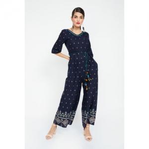 GLOBAL DESI Printed Jumpsuit with Tie-Up