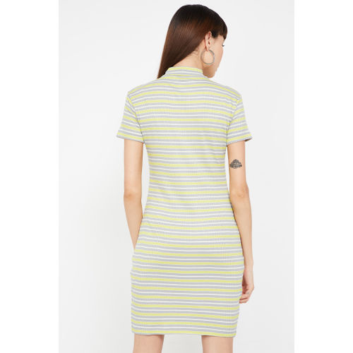 GINGER Typographic Print Striped Jersey Dress