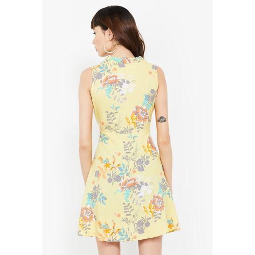 GINGER Floral Print Tie-Up Waist Shirt Dress