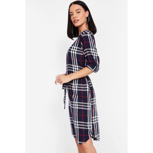 FAME FOREVER Checked Sheath Dress with Sash Tie-Up