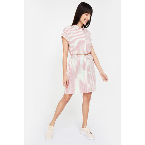 FAME FOREVER Striped Cap Sleeves Shirt Dress