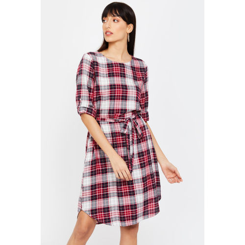 FAME FOREVER Checked A-line Dress