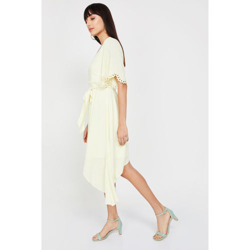 CODE Solid Fit & Flare Dress with Dipped Hems