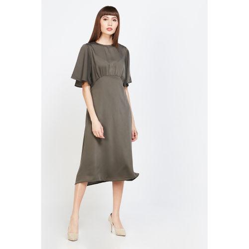VERO MODA Solid Flutter Sleeves A-line Dress