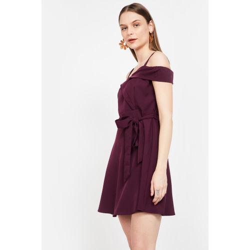 FABALLEY Cold-Shoulder Solid Skater Dress