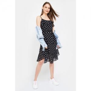 FABALLEY Polka-Dot Print Fit & Flare Dress