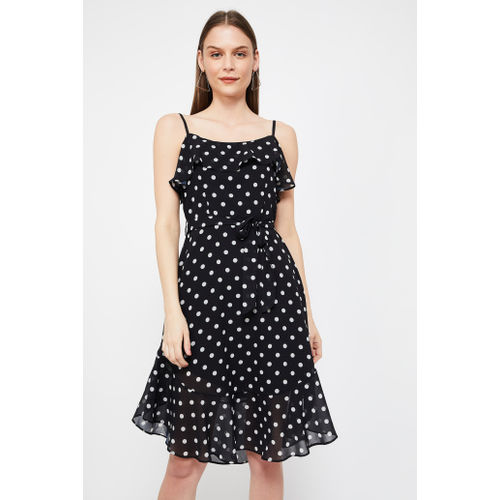 FABALLEY Polka-Dot Print Fit & Flare Dress
