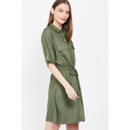 LEE COOPER Solid Shirt Dress with Tie-Up Waist