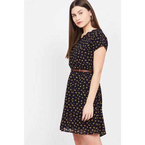 BOSSINI Floral Print Short Sleeves A-line Dress
