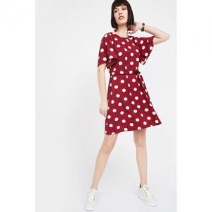 BOSSINI Polka-Dot Print A-line Dress with Sash Tie-Up