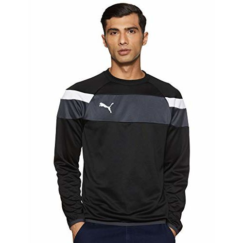 Puma Men's Round Neck Sweatshirt (4056204397442_654656031_Small_Black-White)