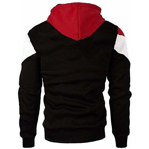 Leotude Cotton Maroon White Black Hoodie Jacket for Men (Black, XX-Large)