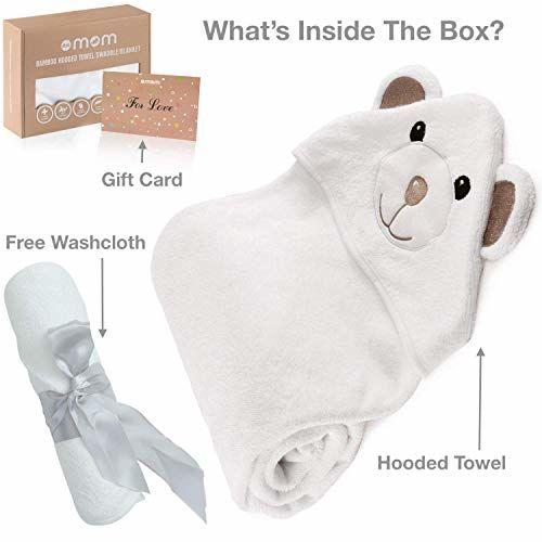 DOTMOM Premium Ultra Soft 100% Organic Bamboo 3 in 1 Baby Hooded Bath Towel (White)