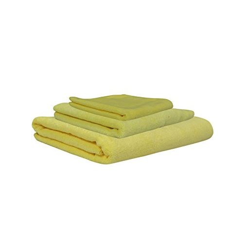 SOFTSPUN Microfiber Baby Face & Bath Towel Set of 3 Pieces, 40x40, 40x60 Cms & 60x120 Cms, 340 GSM (Yellow). Super Soft & Comfortable for Newborn Babies, Quick