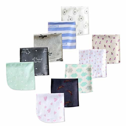 The Boo Boo Club Kids Soft Cotton Face Towels washcloth for Babies (Multicolour 22 X 22cm) Mix Print Pack of-10