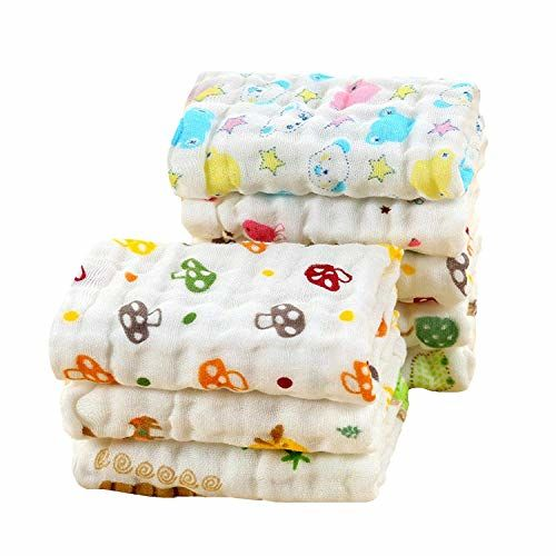 MOM'S HOME Baby's Absorbent, Extra Soft to Baby Delicate Skin 10x10 Inches Muslin Wash Cloths Towels Cum Square Wipes (0-18 Months)- Pack of 3