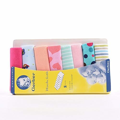 Kidbee Baby Gerber Hosiery Soft Cotton Newborn Napkin Wash Cloth Face Towels (Multicolor, Pack of = 16 Pcs (2 Packet))