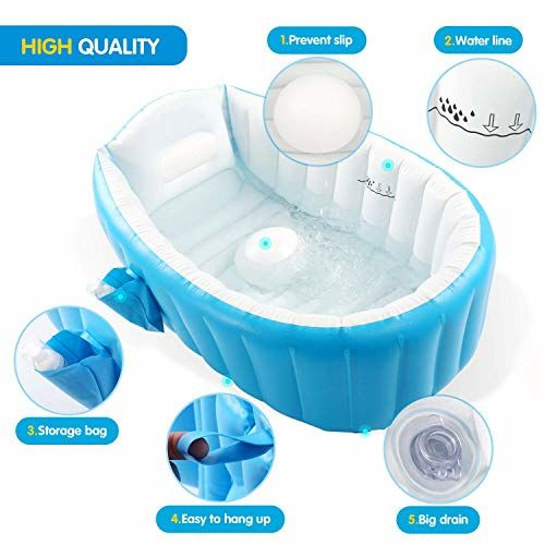 Baybee Sansa Baby Bathtub with Inflator Pump -Inflatable Baby Bath Tub for Kids/Toddler - Mini Air Swimming Pool Kid Infant Toddler Thick Foldable Shower Basin