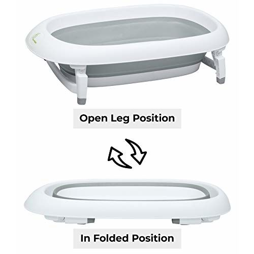 R For Rabbit Smart Baby Bath tub Bubble Double Elite with Temperature Sensitive Plug Folding Baby Bath Tub for Kids of 0 to 3 Years Upto 20 Kgs Weight Capacity(Grey)