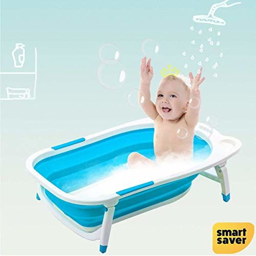 Smart Saver Folding Baby Bath Tub with Temperature Sensing for Infants (Blue, 0-3 Years)