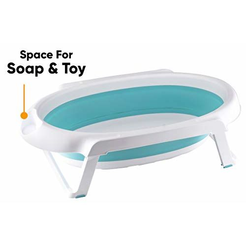 Little Pumpkin Baby Bath tub Classic with Temperature Sensitive Plug Folding Baby Bath Tub for Kids of 0 to 3 Years Upto 20 Kgs (Blue)