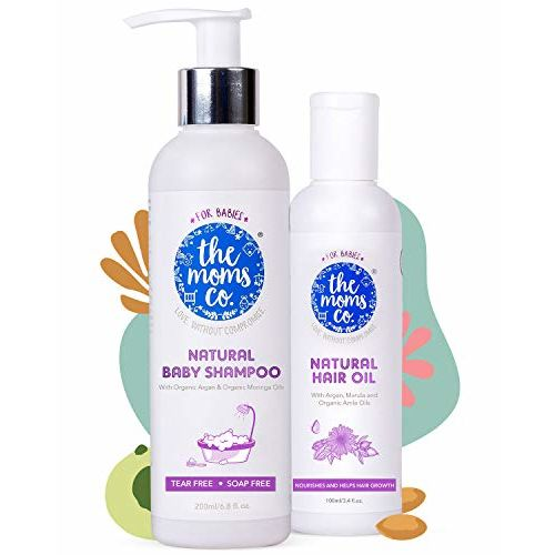 The Moms Co. Baby's All Natural Hair-Care Essentials, Natural-Shampoo (200 ml) & Natural-Hair Oil (100 ml) for Gentle Hair Cleaning, Massage (White)
