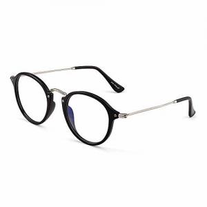 JIM HALO Retro Round Computer Glasses Blue Light Blocking Video Game Eyeglasses, Reduce Eye Strain Anti Glare Clear Lens Men Women