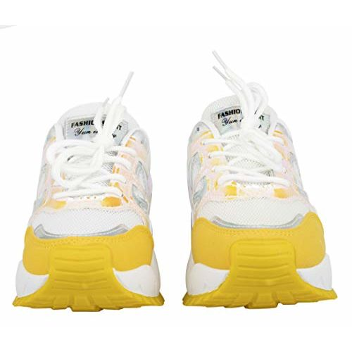 Irsoe Latest Ladies Sports Lace Super Soft Running Shoes and Comfortable Sneakers- White/Yellow