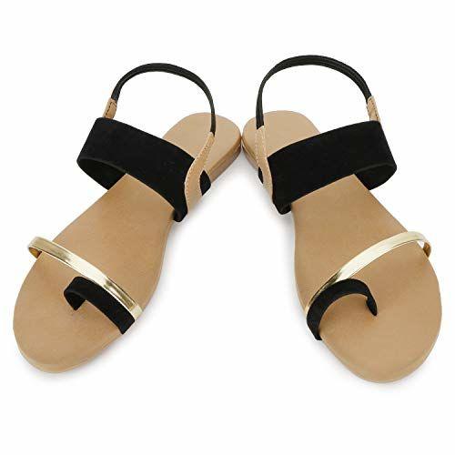 SHOFIEE Black Synthetic Ankle Strap Sandal - 7 UK (40 EU)