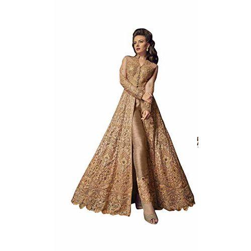 Fabzara Women's Net & Banglori Silk Semi-stitched Salwar Suit