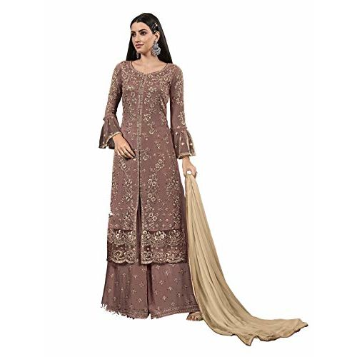 Fabzara Women's Long Embroidered Suit (Brown)