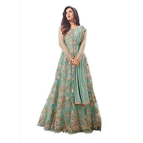 Fabzara Women's Net Long Anarkali Suit and Sets (Green, Free Size)