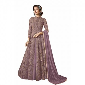 Fabzara Womens PURPLE Color Embroidered Straight Salwar Shuit & Set (FZ_4554_PURPLE)_Semi-Stitched