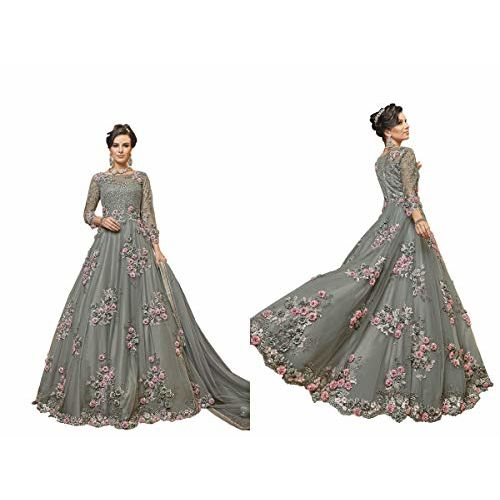 Fabzara Womens Latest Designer Grey Color Long Anarkali Party Wear Gown (FZ_6302_GREY)