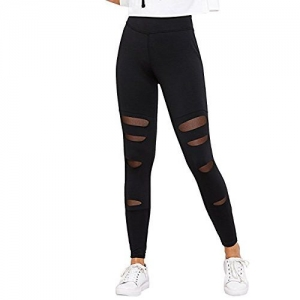 BLINKIN Sexy Mesh Patchwork Yoga Gym and Active Sports Fitness Black Leggings Tights for Women/Girls(5001)