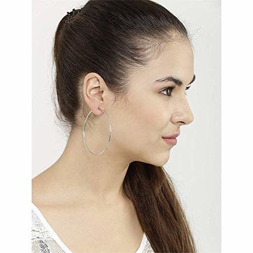Fems Triplet Combo of Silver Golden & Black Big Round Hoop Earrings for Women   Fancy & Stylish Party Wear Single Circle Metallic Earings for Girls