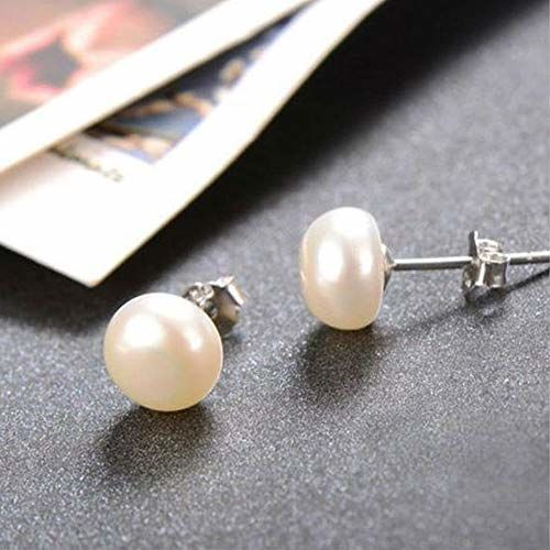 GIVA Jewellery - Stylish Original Freshwater Button Pearl Earrings - Pure, Authentic 925 Sterling Silver For Women And Girls With Certificate & BIS Hallmark (Silver, 8mm)