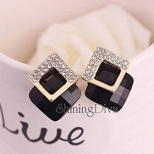 Shining Diva Fashion Gold Plated Black Crystal Stud Earrings for Women and Girls (Black) (9185er)