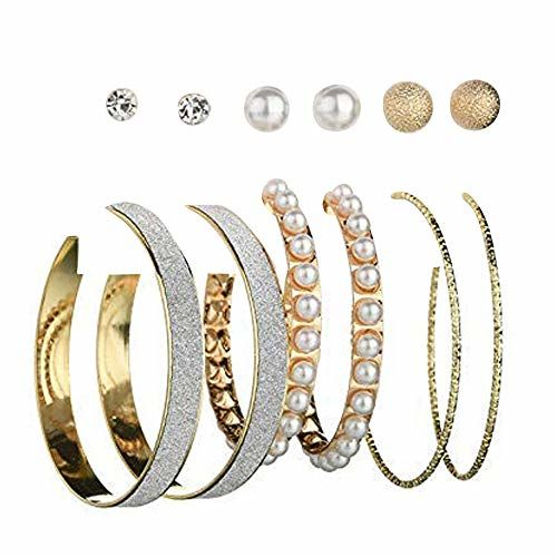 Jewels Galaxy Stylish Pearl & AD Multi Designs Stunning 6 Pair of Earrings For Women/Girls (Design 10)