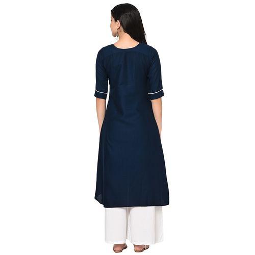 Wedani embroidered high-low kurta