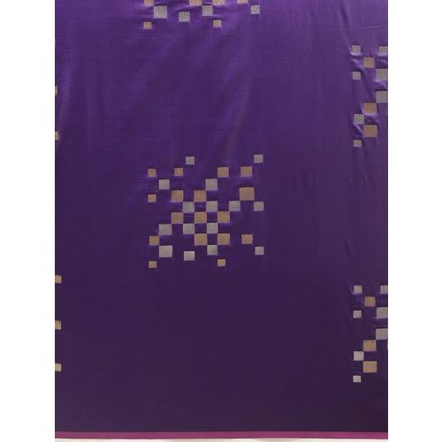 Amulyam Tex World purple silk blend banarasi saree with blouse