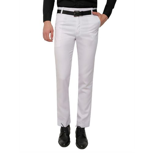 Inspire white polyester flat front trousers formal