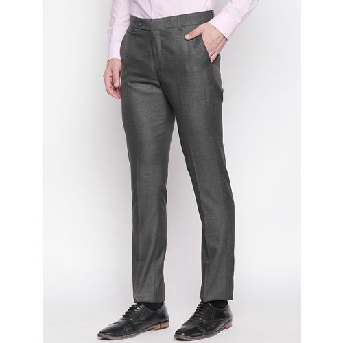 Solemio grey solid flat front formal trouser