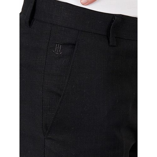 Tahvo black linen flat front formal trouser