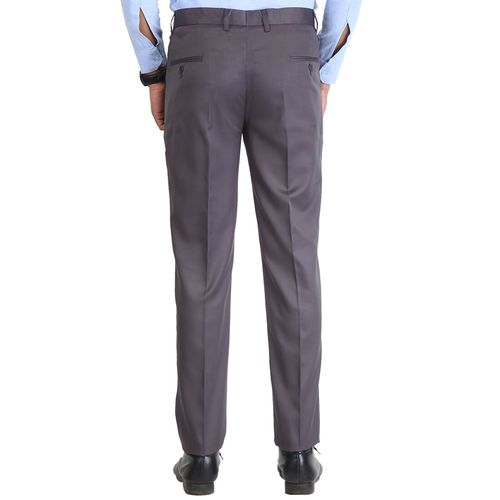 Inspire grey solid flat front formal trouser