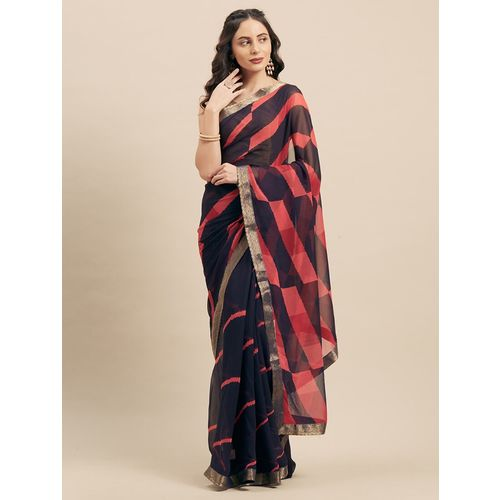shaily striped printed saree with blouse