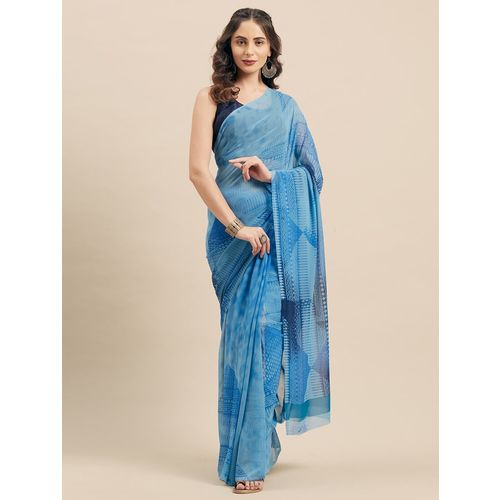shaily geometrical printed saree with blouse