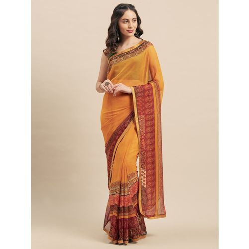 shaily mustard georgette printed saree with blouse