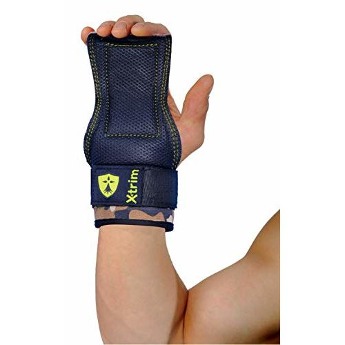 Xtrim Cobra Shaped Leather Grip Padded Non-Slip Palm Protector-Integrated Wide Neoprene Wrist Wrap Support Cross-fit Weightlifting Perfect for Pull ups Dead