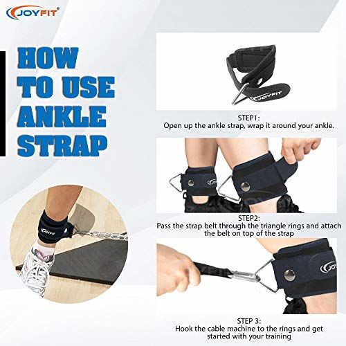 Joyfit Padded Ankle Straps- for Cable Machine, Kickbacks, Glute Workouts, Leg Extensions, Curls & Hip Abductors with Padded Neoprene Support, Ideal for Men & Women [Pair]